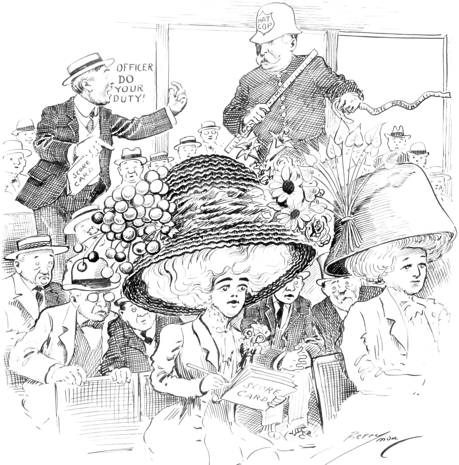 News Note: A Bill Has Been Introduced in the Illinois Legislature Limiting Women's Hats to a Diameter of Eighteen Inches