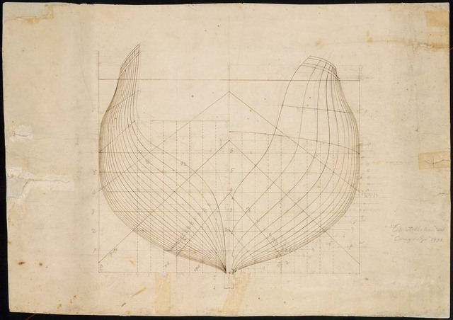 Drawing of the Hulls for the U.S.S. Constellation and the U.S.S. Congress