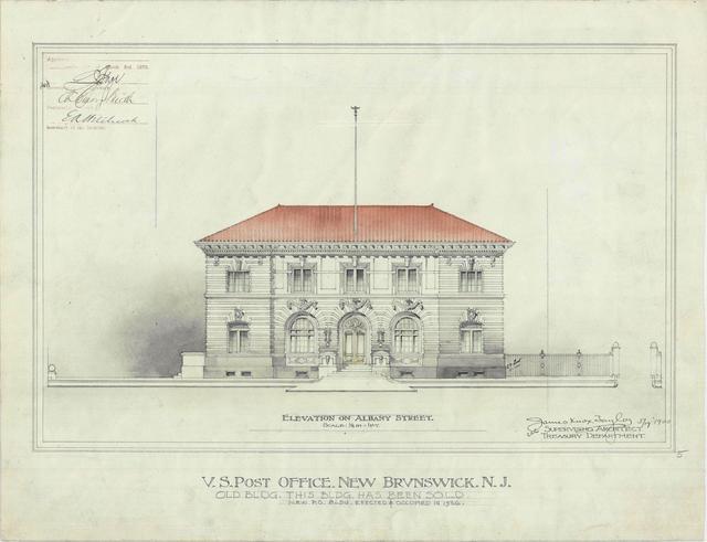 Presentation drawing of the New Brunswick NJ Post Office