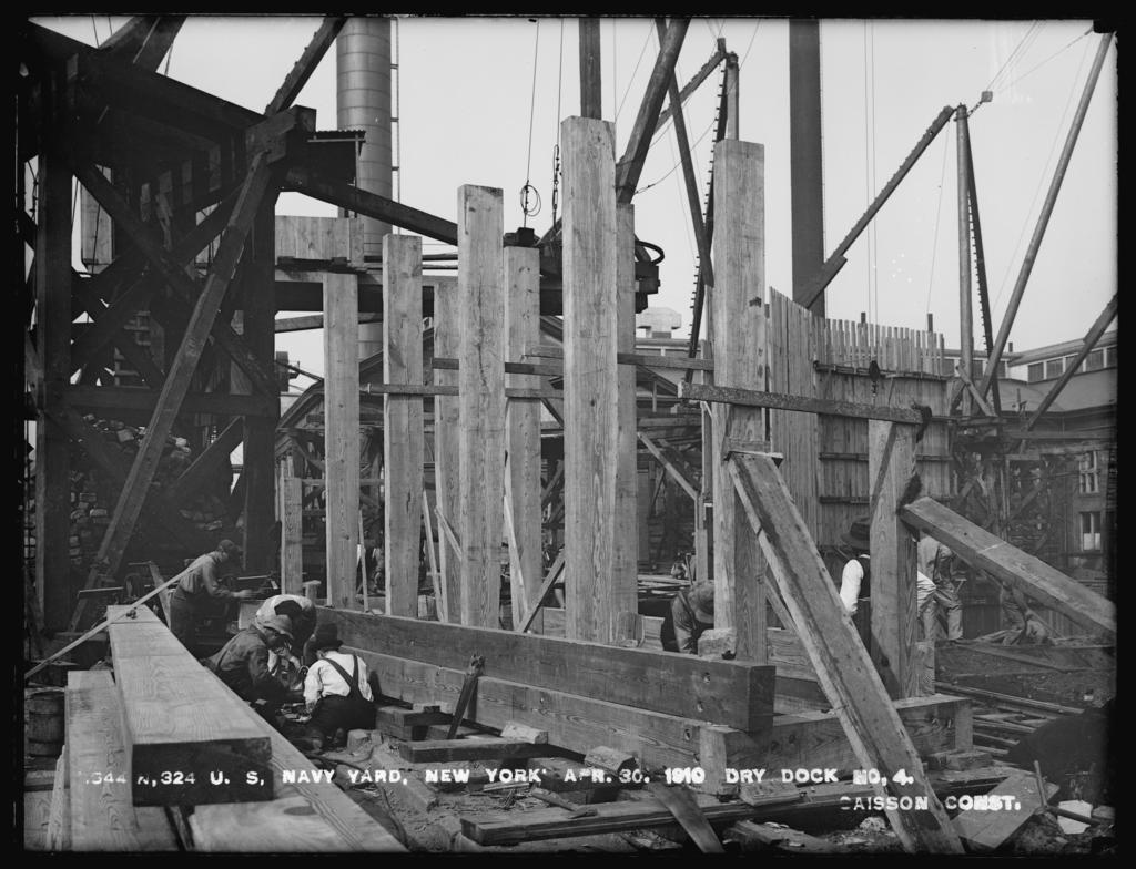 Dry Dock Number 4, Caisson Construction