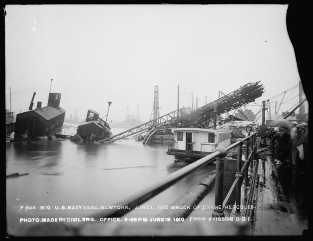 Wreck of Crane Hercules, Photo Made by Civil Engineering Office, from Baisson Dry Dock 1