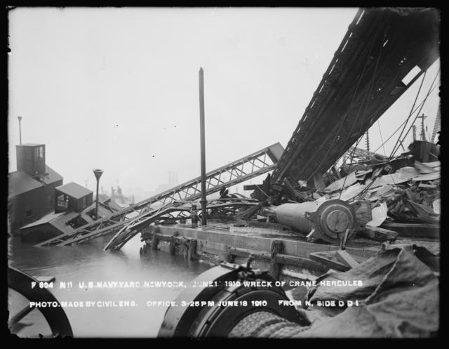 Wreck of Crane Hercules, Photo Made by Civil Engineering Office, from North, Side Dry Dock 1