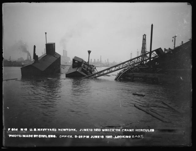 Wreck of Crane Hercules, Photo Made by Civil Engineering Office, Looking East