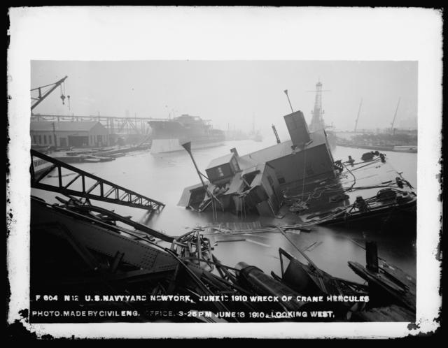 Wreck of Crane Hercules Photo Made by Civil Engineering Office, Looking West