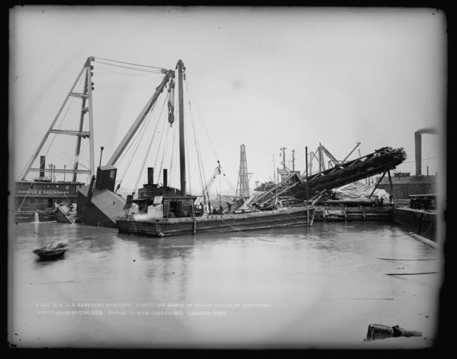 Wreck of Crane Hercules June 18, 1910, Photo by Civil Engineering Office, 11-15 AM, June 20, 1910, Looking West
