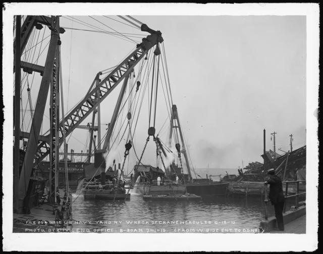 Wreck of Crane Hercules June 18, 1910, Photo by Civil Engineering Office, 8-30 AM, July 1, 1910, (From Westside Entrance to Dry Dock Number 2)