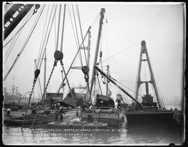 Wreck of Crane Hercules June 18, 1910, Photo by Civil Engineering Office, 8-35 AM, July 1, 1910, (From Eastside Entrance to Dry Dock Number 2)