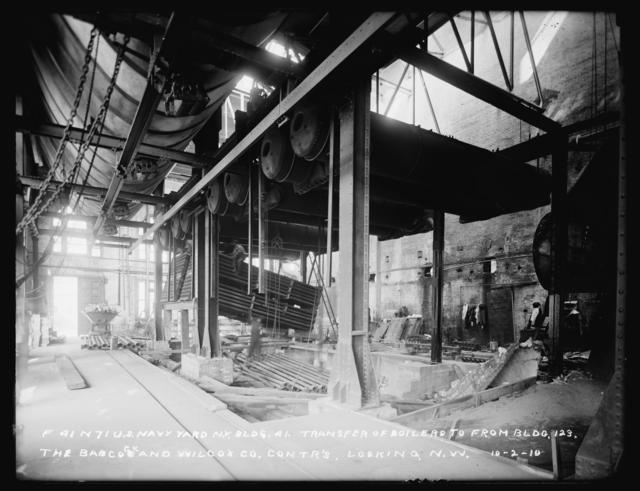 Building 41, Transfer of Boilers from Building 123, Looking Northwest, The Babcock and Wilcox Company, Contractors