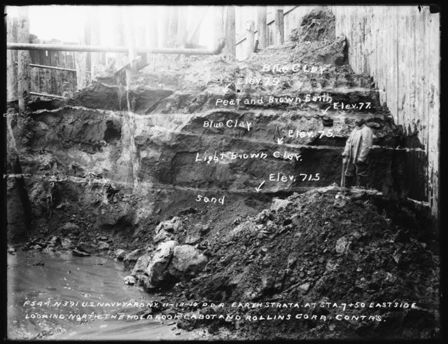 Dry Dock No. 4, Earth Strata at Station 7+50 East Side Looking North, Holbrook, Cabot and Rollins Corporation, Contractors