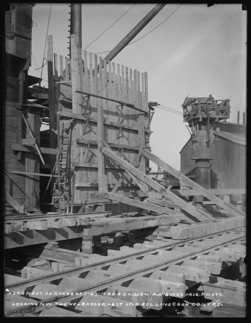 Monthly Progress Photo, Dry Dock No. 4, Caissons P.W. 3, Looking Northwest, Holbrook, Cabot and Rollins Corporation, Contractors