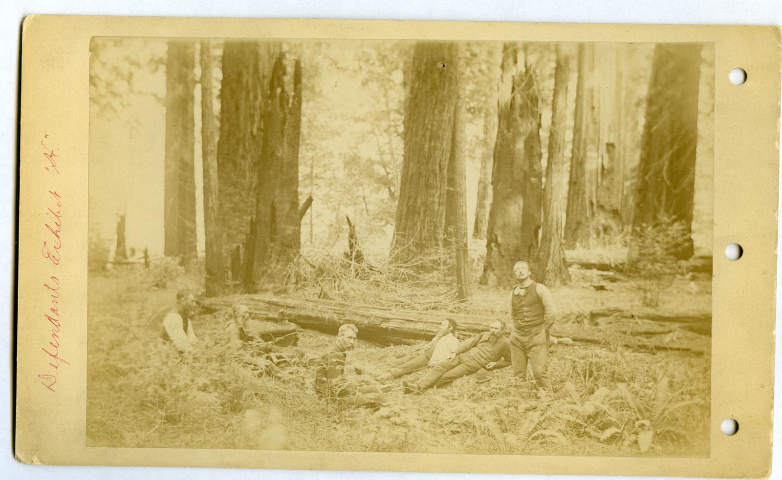 Photograph of Six Men Resting Near Fallen Trees