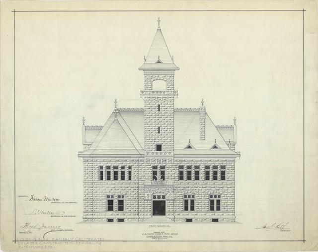 Presentation Drawing of the Charleston WV Courthouse and Post Office