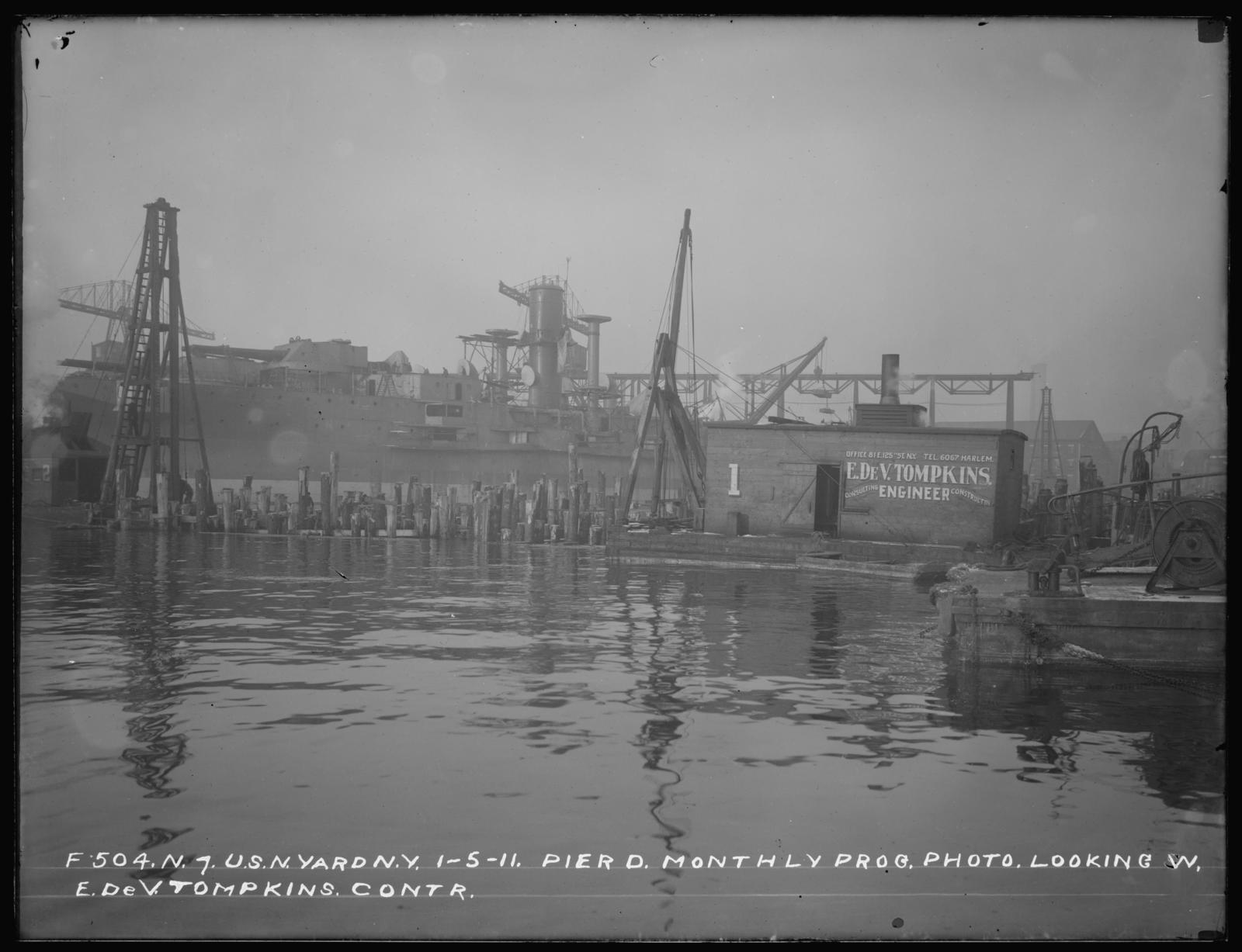 Pier D, Monthly Progress Photo, Looking West, E. De.  V. Tompkins, Contactor
