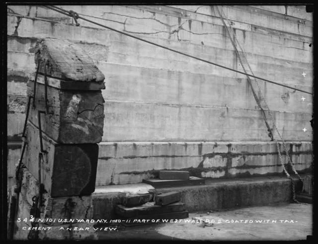 Part of West Wall, Dry Dock 2, Coated With Tax-Cement, a Near View