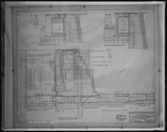 Dry Dock Number 4, Cross-Sections Through Pump Well and Discharge Culvert, Drawing F544 S399
