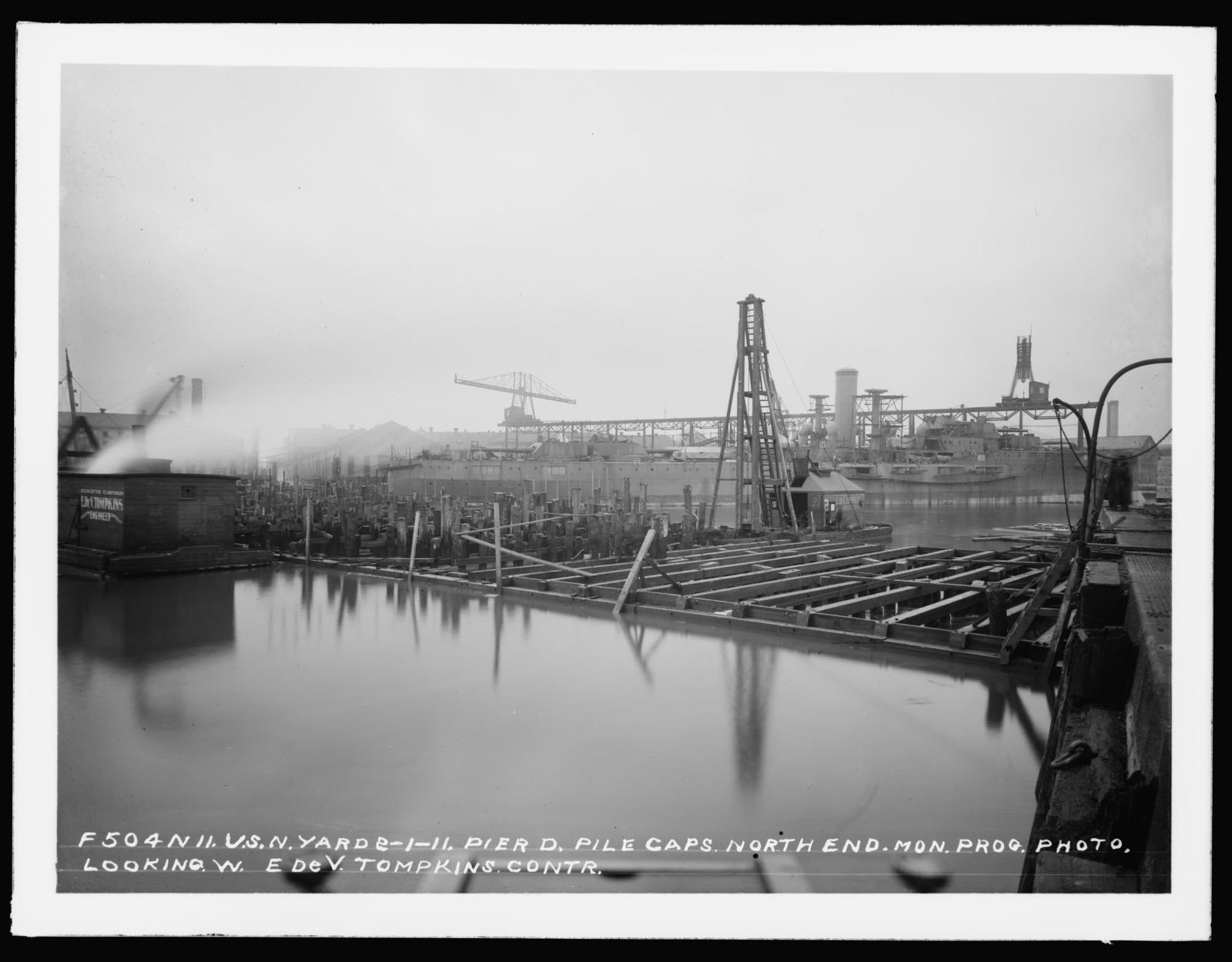 Pier D, Monthly Progress Photo, Pile Caps, North End, Looking West, E. DeV. Tompkins, Contactor