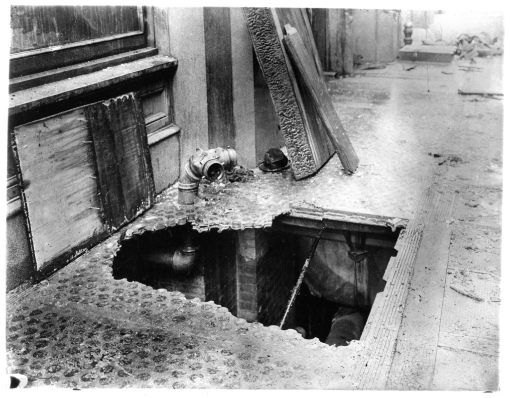 Photograph of a Hole at the Bottom of a Fire Escape after the Triangle Shirtwaist Factory Fire