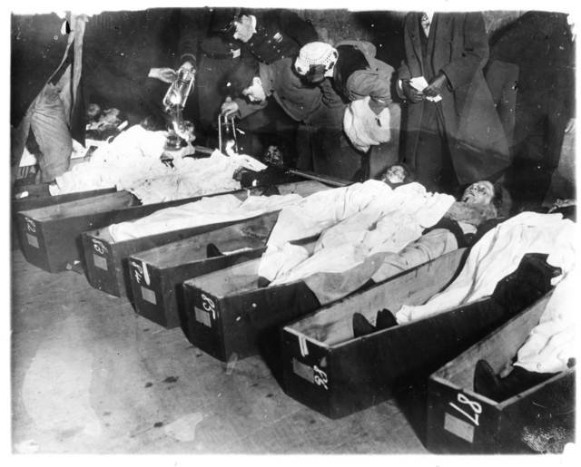 Photograph of People Viewing Victims of the Triangle Shirtwaist Factory Fire in Coffins