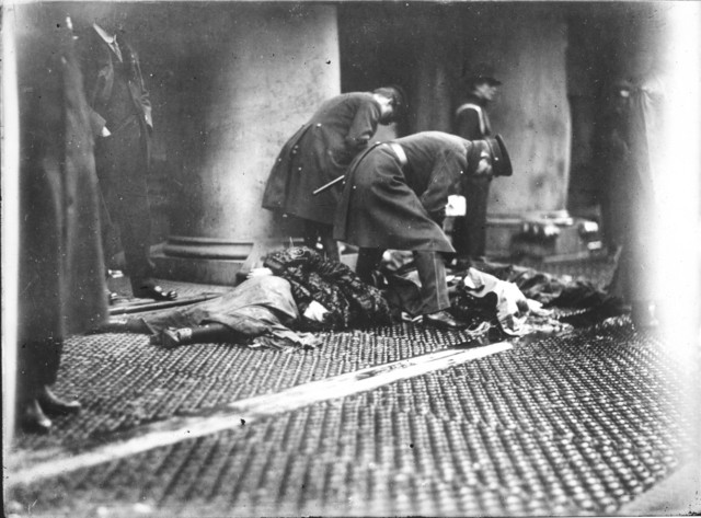 Photograph of Police Officers with Victims of the Triangle Shirtwaist Factory Fire