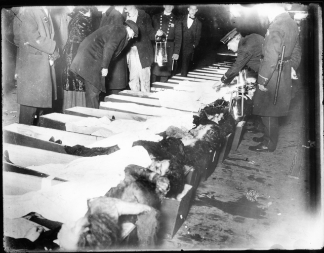 Photograph of Victims of the Triangle Shirtwaist Factory Fire in Coffins