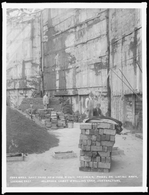 Dry Dock 4, Panel 34, Laying Brick, Looking East, Holbrook Cabot and Rollins Corporation, Contractor