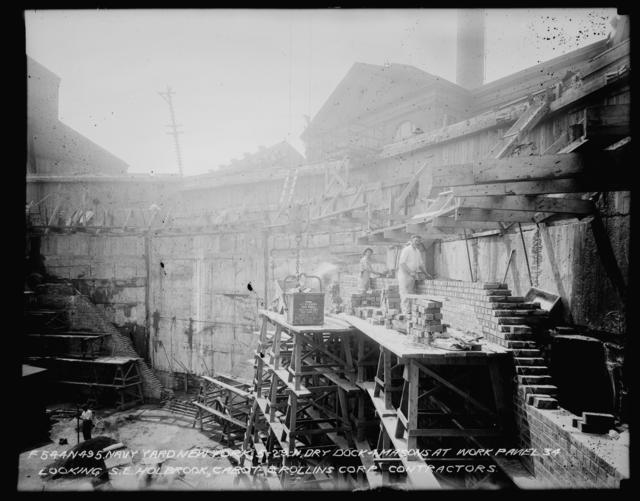 Dry Dock 4, Masons at Work, Panel 34, Looking Southeast, Holbrook Cabot and Rollins Corporation, Contractor