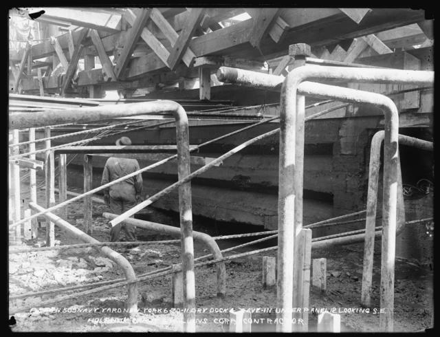 Dry Dock No. 4, Cave-in Under Panel 12 Looking Southeast, Holbrook, Cabot and Rollins, Contractor