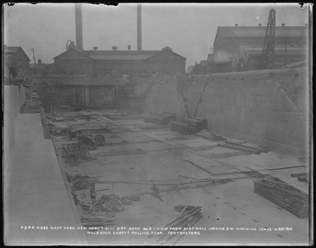 Dry Dock Number 4, Monthly Progress Photo, View from East Wall Looking Southwest, Showing Leaks in Bottom, Holbrook, Cabot and Rollins, Contractors
