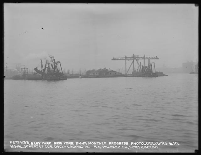 Monthly Progress Photo, Dredging and Removal of Part of Cob Dock, Looking West, R. G. Packard Company, Contractor