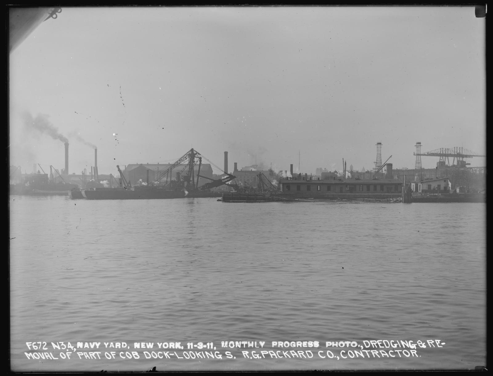 Monthly Progress Photo, Dredging and Removal of Part of Cob Dock, Looking South, R. G. Packard Company, Contractor