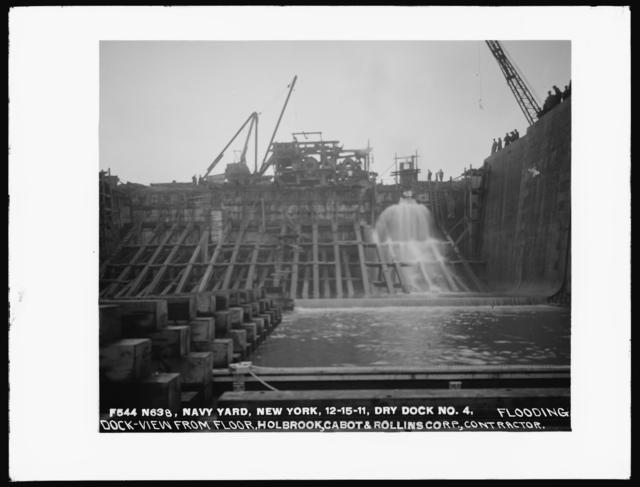 Dry Dock Number 4, Flooding Dock, View From Floor, Holbrook Cabot and Rollins Corporation, Contractor