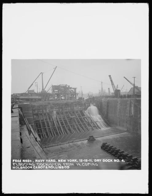 Dry Dock Number 4, Flooding Dock, View from West Coping, Holbrook, Cabot, and Rollins Corporation