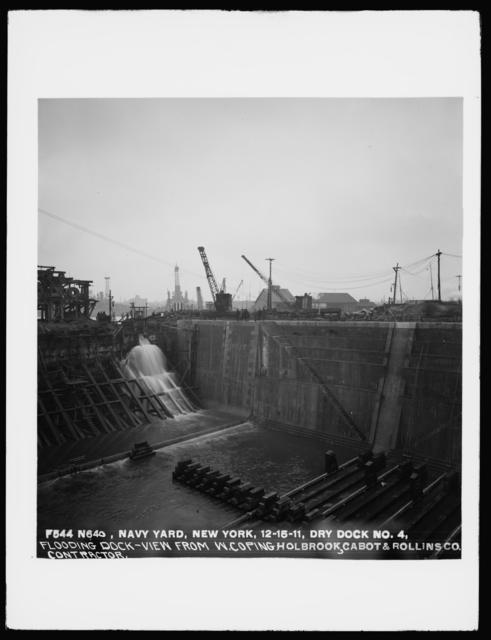 Dry Dock Number 4, Flooding Dock, View from West Coping, Holbrook, Cabot, and Rollins Corporation, Contractor