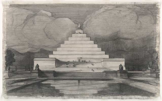 John Russell Pope's Competition Proposal for a Monument to Abraham Lincoln on Meridian Hill, View from White House
