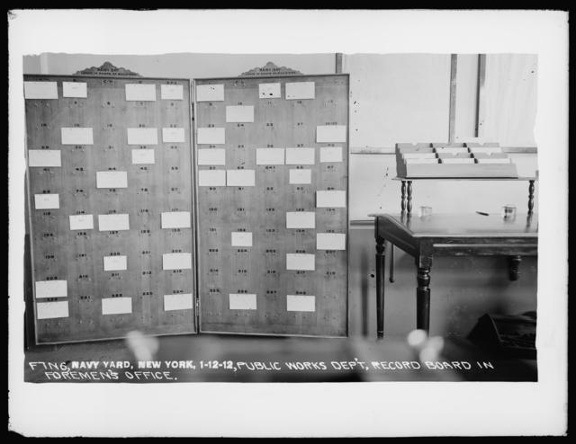 Public Works Department, Record Board in Foreman's Office