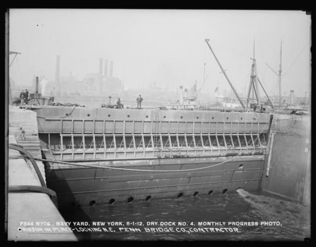 Monthly Progress Photo, Dry Dock No. 4, Caisson in Place Looking Northeast, Penn Bridge Company, Contractor