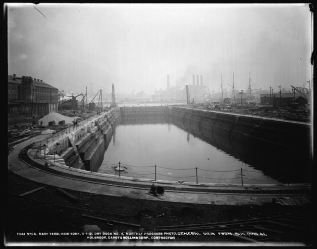 Monthly Progress Photo, Dry Dock No. 4, General View from Building 41, The Holbrook, Cabot and Rollins Corp., Contractors