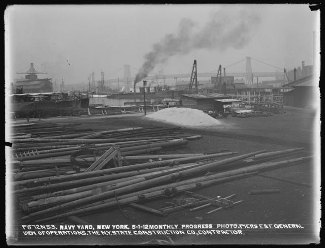 Monthly Progress Photo, Piers E and F, General View of Operations, The New York State Construction Company, Contractor