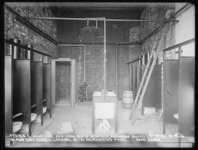 Monthly Progress Photo, Dry Dock No. 4, Latrine in Building 131 in Workmen's Part, Looking West, Yard Labor