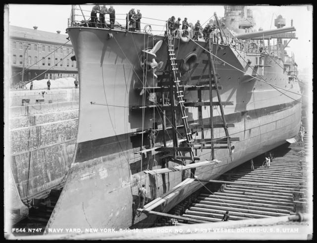 Dry Dock No. 4, First Vessel Docked - U.S.S. Utah