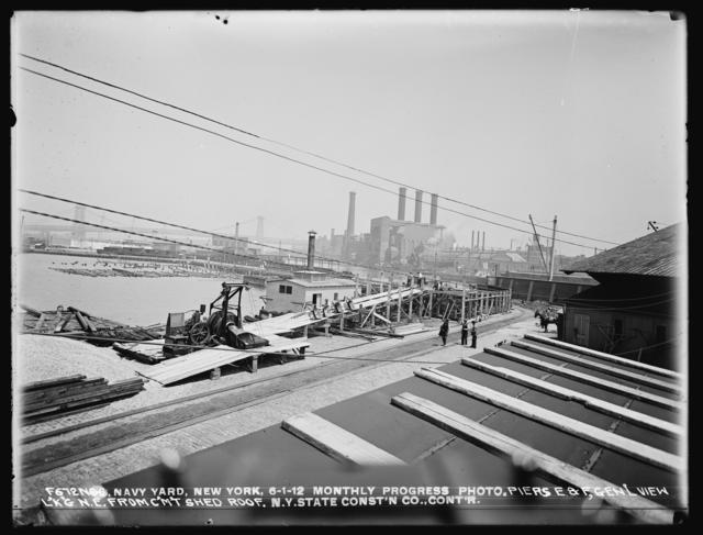 Monthly Progress Photo, Piers E and F, General View Looking Northeast from Cement Shed Roof, The New York State Construction Company, Contractor