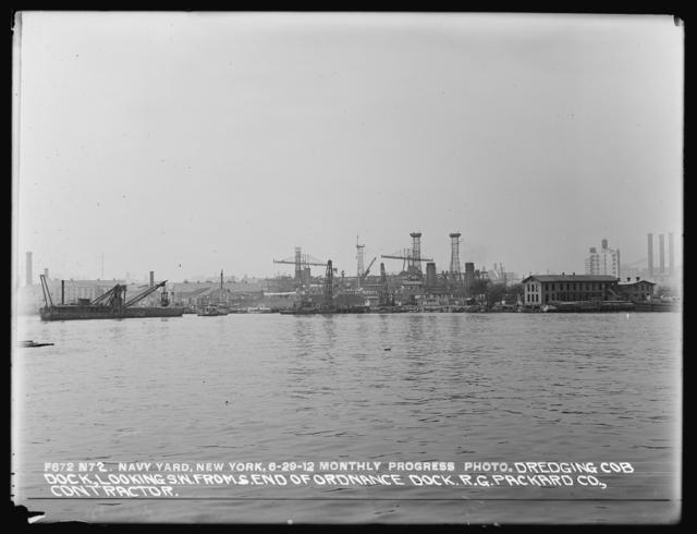 Monthly Progress Photo, Dredging Cob Dock, Looking Southwest from South End of Ordnance Dock, R. G. Packard Company, Contractor
