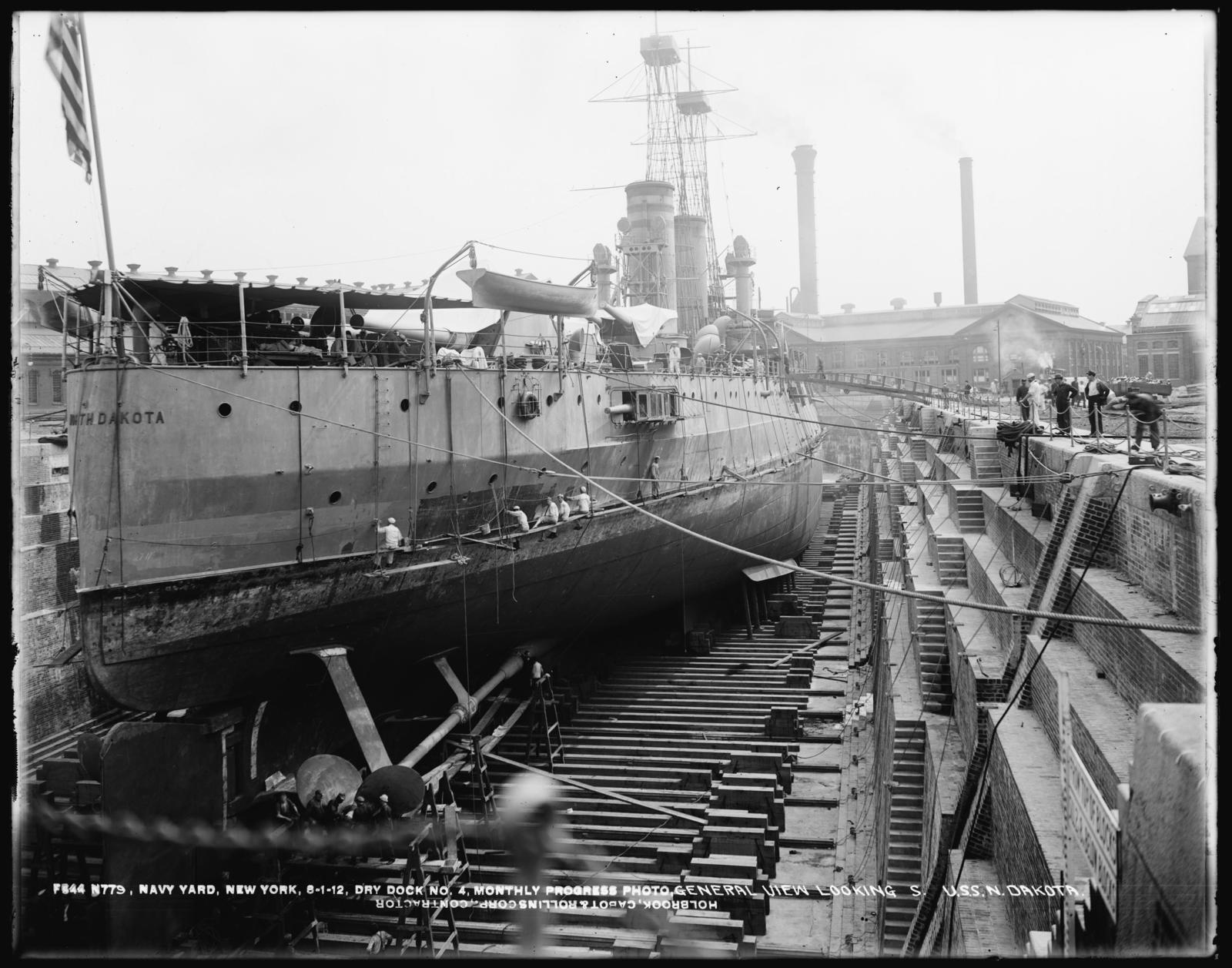 Dry Dock Number 4, Monthly Progress Photo, General View Looking South, USS North Dakota, Holbrook, Cabot and Rollins Corporation, Contractor
