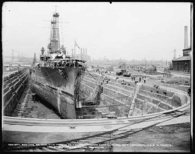Monthly Progress Photo, Dry Dock No. 4, General View Looking North, U.S.S. North Dakota, The Holbrook, Cabot and Rollins Corp., Contractors