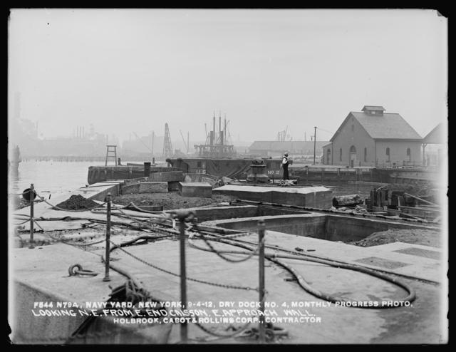 Dry Dock Number 4, Monthly Progress Photo, Looking Northeast from East End Caisson, East Approach Wall, Holbrook, Cabot, and Rollins Corporation, Contractor