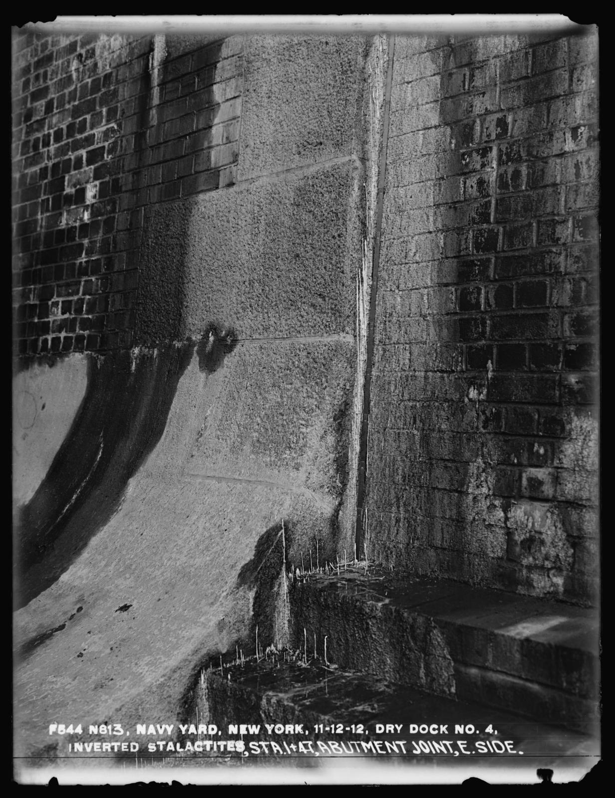 Dry Dock No. 4, Inverted Stalactites, Stations 1+47, Abutment Joint, East Side