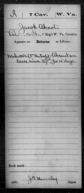 Absot, Jacob - Age [Blank], Year: 1862 - Miscellaneous Card Abstracts of Records - West Virginia