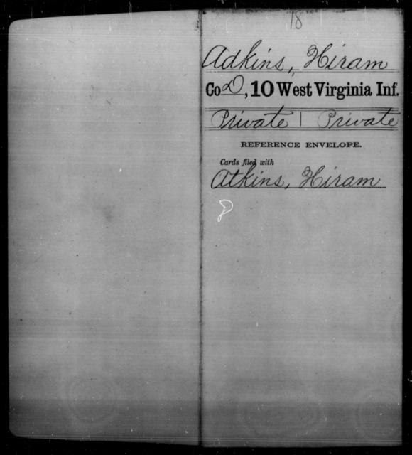 Adkins, Hiram - Age [Blank], Year: [Blank] - Tenth Infantry - West Virginia