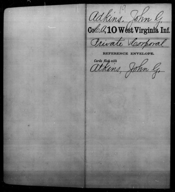 Adkins, John G - Age [Blank], Year: [Blank] - Tenth Infantry - West Virginia