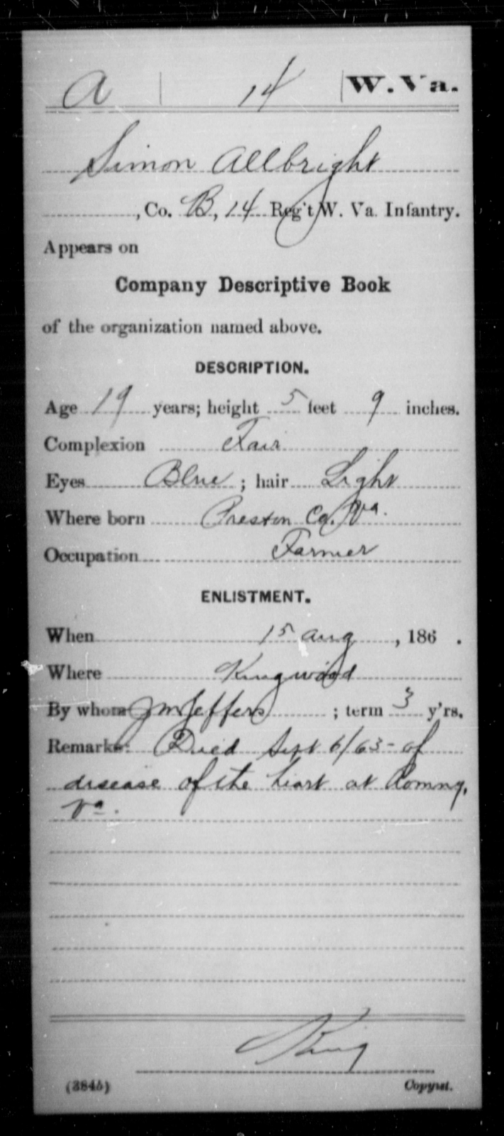 Allbright, Simon - Age 19, Year: 1863 - Miscellaneous Card Abstracts of Records - West Virginia